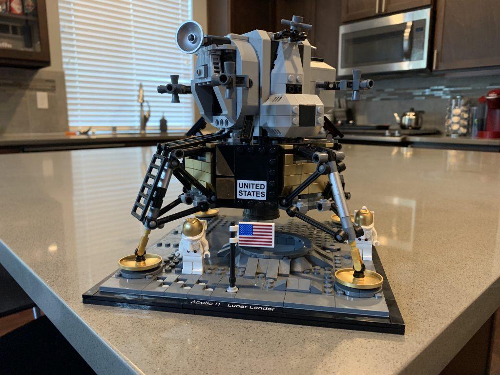"""The 1,087-piece LEGO set of the Apollo 11 Lunar Lander """"Eagle""""."""