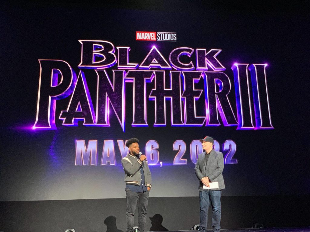 Black Panther 2 announced at D23 Expo 2019 with Kevin Feige and Ryan Coogler on stage.