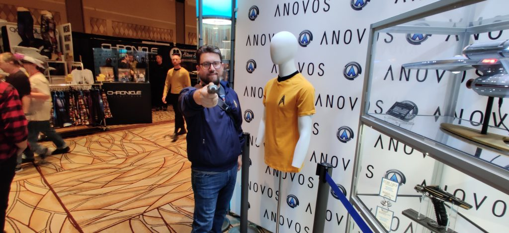 Set Phasers to stun! Me on the vendor showroom floor at the ANOVOS booth.
