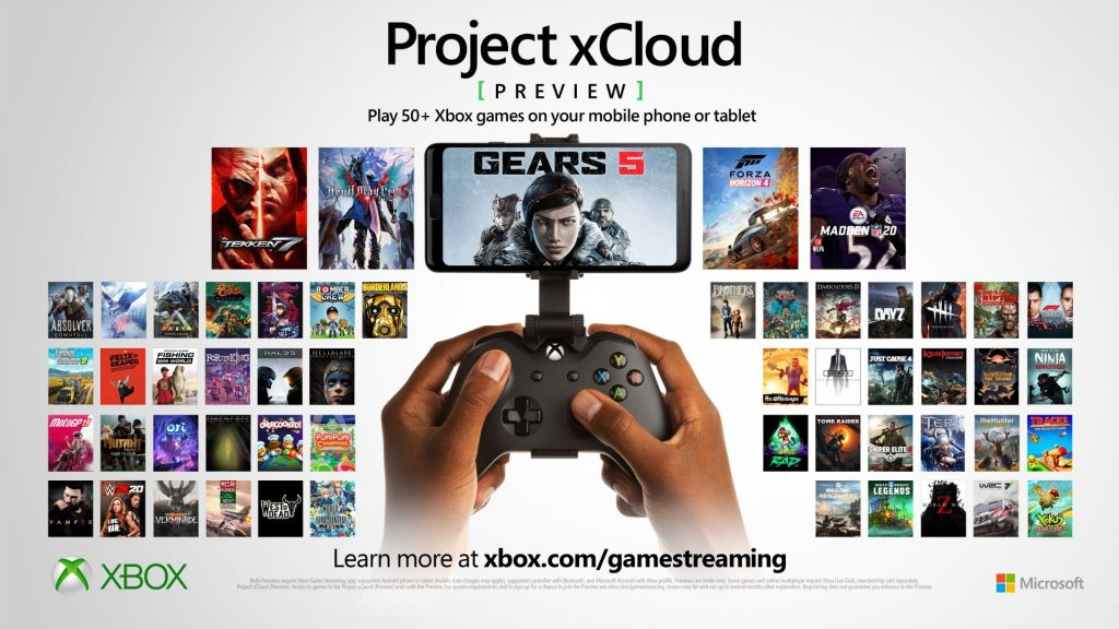 Project xCloud Preview: Play 50+ Xbox games on your phone or tablet.