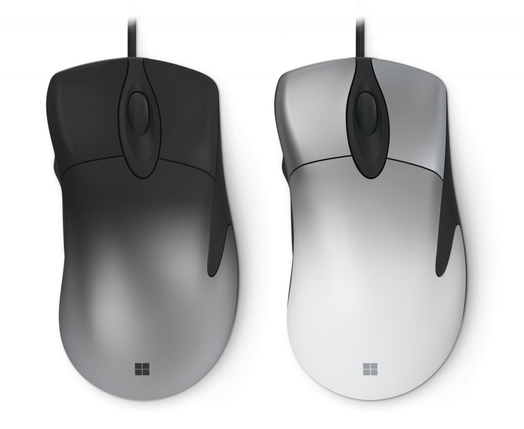 Microsoft Pro IntelliMouse black and white models.