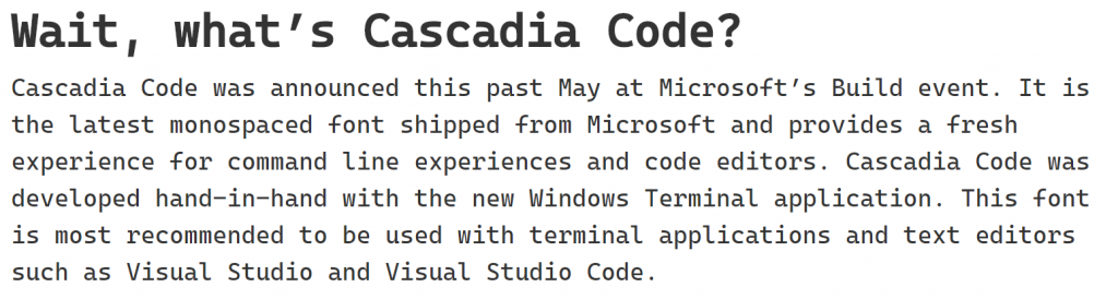 This is a visual example of the new Cascasdia Code font.
