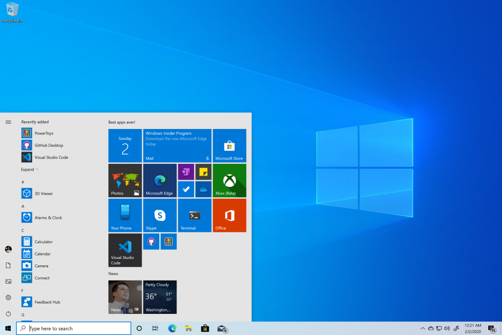 Windows 10 November 2019 Update desktop with Start and Microsoft apps.