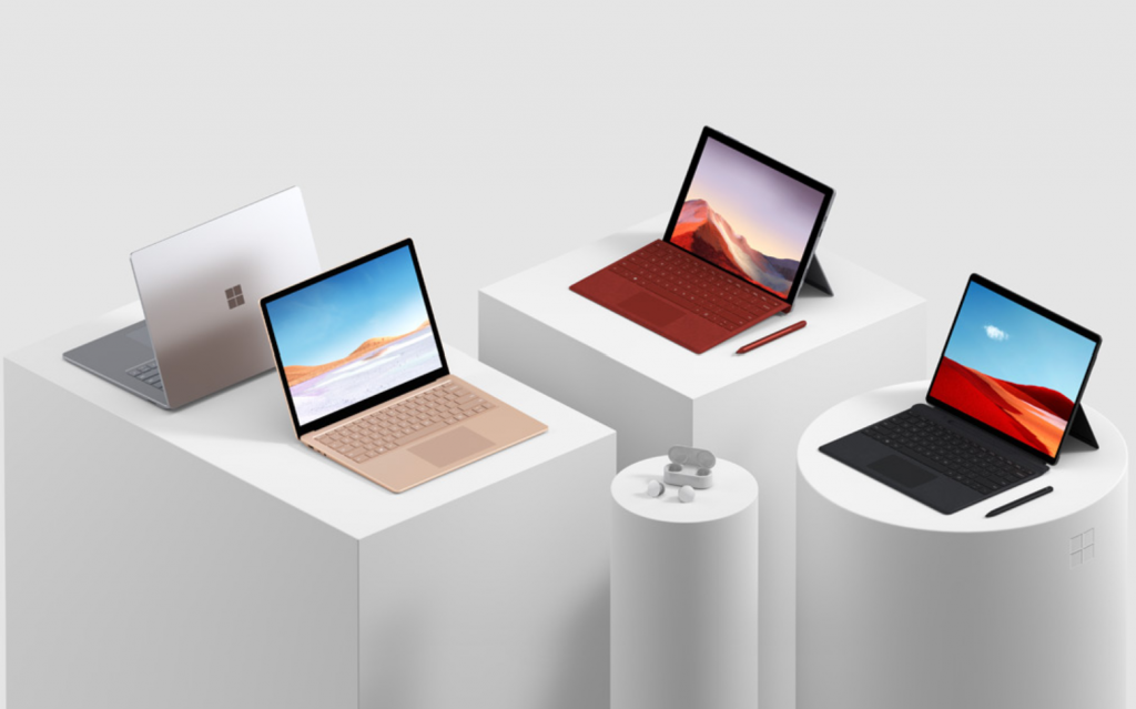 Surface Laptop 3, Surface Pro 7, and Surface Pro X.