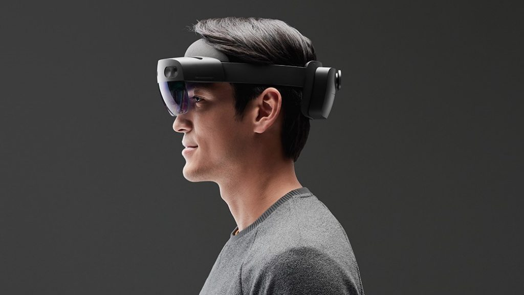 A person wearing a HoloLens 2.